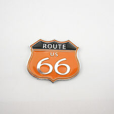 Auto Body Side Rear Trunk Orange Metal 3D Route US 66 Emblem Decal Sticker Badge