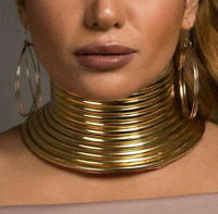 African Jewelry Vintage Necklace Metallic Coil Adjustable Choker Maxi Collar NEW