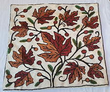 """SILK Fall Leaves 15"""" ARI 100% Covered Crewel Chain-Stitch Embroidery Pillow-Case"""