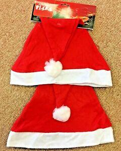 10pcs Basic Santa Hats Christmas Party Adult Red & White Xmas Christmas Hats Cap