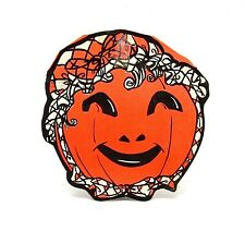 VINTAGE HALLOWEEN JACK O LANTERN PUMPKIN DIE CUT EMBOSSED DECORATION