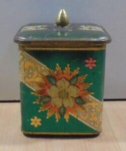 GREEN FLORAL VTG TIN BOX EMPTY