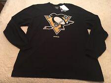 68c07bbb80 NHL Reebok Pittsburgh Penguins logotipo en negro manga larga T-shirt Tamaño  XL-Nuevo con etiquetas