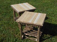 "Twig Furniture,Rustic Cedar Log Stands,Set of 2 20"" x 20 ""x 20"""