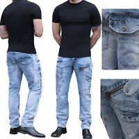 ETO Mens Jeans Tapered Fit Funky Biker Trousers Denim Pants All Waist Size 28-40