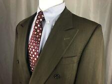 Dinos Cincinnati Mens 42L Double Breasted Suit Brown Pinstrip Wool W34xL32 Pleat