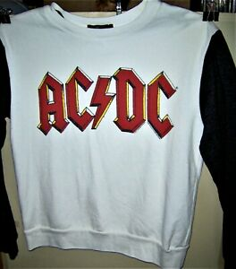 AC/DC  LOGO White Sweat Shirt Black Sleeves Pre Worn Angus Young Very COOL