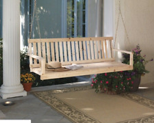 Wooden Porch Swing Natural Wood Patio Outdoor Yard Garden Bench Hanging W/Chains