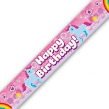 Unicorn Happy Birthday Party Banner 270cm long repeats 3 times Brightly Coloured