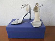 NIB STUART WEITZMAN Silver Mini Glitter NUDISTSONG Ankle Strap Sandal Heels 6