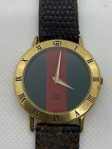Vintage Authentic Gucci 3000M Red and Green Stripe Quartz Wrist Watch