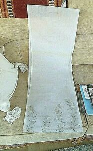 TABLE RUNNER-WHITE LAYERED VOILE WITH SILVER EMBROIDERED ENDS 70'' LONG 12.5'' W