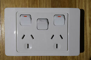 2x GE Brand 10 Amp Double Power Point w/ Extra Switch GPO Outlet GPO Socket 250V