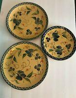 Fiaence Provencale du Poet Laval France Pottery 2 DINNER PLATES & 1 SALAD PLATE