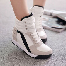 Womens Sneakers High Wedge Heel Lace Up Trainers High Top Rivet Casual Shoes