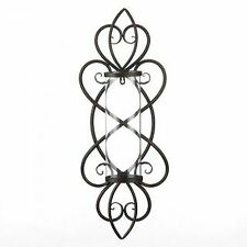 Rustic Wrought Iron Glass Heart Shaped Candle Wall Sconce Home Decor Gift