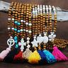 Heiße lange Quaste Anhänger Pullover Damen Türkis Perlen Halskette Kette Schmuck
