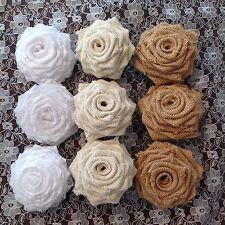 Hessian and Lace Roses Weddings Shabby Chic Vintage x 9
