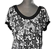 Van Heusen Babydoll Tunic Top XL Womens Black White Floral Career Shirt USA Made
