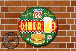 Route 66 Diner Metal Sign, Cars, American, Gas, Classic, Garage Decor, 966