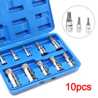 "10PCS Multi Triple Square Spline Bit Socket Set Mechanics Tool 1/4"" 3/8"" 1/2"" UK"