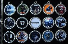 15 Call of Duty Ghosts Silver Flat Bottle Cap Necklaces Set 2