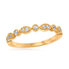 14K WHITE YELLOW ROUND DIAMOND MIL GRAIN STACK ABLE BAND RING 1/6 CTTW