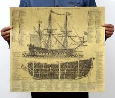 Galleon Sailing Blueprint Aged Classic Poster Old Retro Vintage 51*46CM