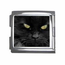 Yellow Eyes Black Cat 18mm stainless steel italian charm link bracelet