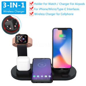 3en1 USB Qi Chargeur Rapide Sans Fil Support Pr Apple Watch Airpod Téléphone