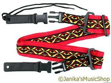 Guitar strap electric acoustic new red with yellow pattern band quick release