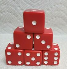 Dice - Koplow 19mm OP Red w/White Pips! 6 each - Big RED! Ready to Roll!