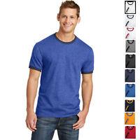 Mens T-Shirt PreShrunk Cotton Ringer Tee S, M, L, XL, 2XL, 3XL, 4XL Retro Ringer