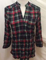 Market & Spruce Blouse XS Blue Black Red White Plaid Button Front Long Sleeve