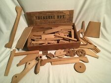 1870s Crandall's Treasure Box Vintage Wood Block Building Set Toy 1800s