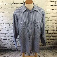 Wrangler Mens Sz 19X37(Tall) Shirt Blue Striped Long Sleeve Western Snap-Up