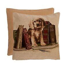 Clayre&Eef Kissenhülle Füllung Gobelin Samt Hund Vintage Diele 40x40cm NEU 50295
