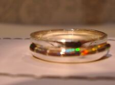 Channel Red Golden Black Fire Opal Sterling Ring 9 Sterling Silver 925