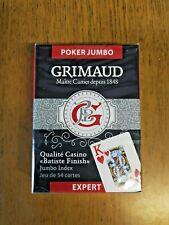 "Jeu de 54 Cartes Poker Jumbo "" Expert Qualité Casino "" Marque Française Grimaud"