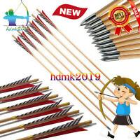 "Wooden Archery English Longbow Arrows Practice Target Arrow 5.8"" Turkey Feather"
