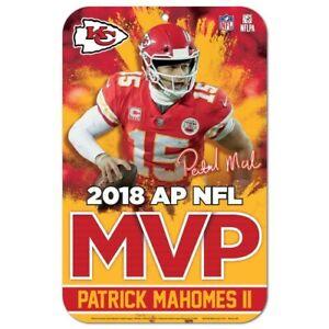 "PATRICK MAHOMES 2018 NFL MVP KANSAS CITY CHIEFS 11""X17"" PLASTIC SIGN DURABLE"