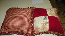 Pair Red Gold Patchwork Print Decorative Throw Pillows 18 x 18