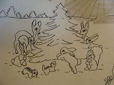 Vintage Original ink drawling: BAMBI CHRISTMAS TREE signed ROS WOOD 1940'S