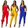 New Women  Spaghetti Strap Solid Color Casual Belt Bodycon Party Jumpsuit Romper