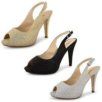 Womens Ladies High Heel Peep Toe Diamante Strappy Wedding Bridal Sandals Shoes