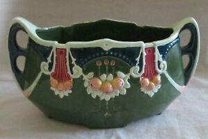 Antique Art Nouveau Pottery Majolica Vase with Handles, Austria