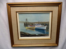 Lovely Calm Acrylic Painting Sandy Cove Nova Scotia by D Van Bommel Wharf Boats
