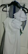 New Liliana. Elegant Ruffle One Shoulder Ruched Wedding Dress Size 6 Ivory  NWT