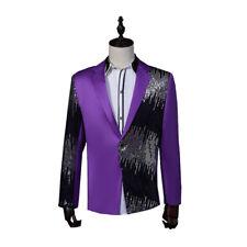 Men Glitter Sequins One Button Notch Lapel V Neck Suit Jacket Stage Costume Coat