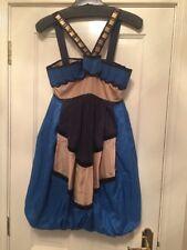 Designer Pinko Blue Silk Puff Hem Dress Size 10 Worn Once